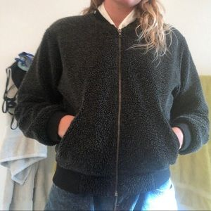 Brandy Melville fuzzy bomber jacket